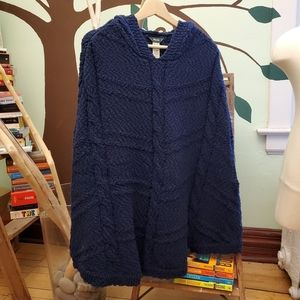 ROOTS knit poncho with hood